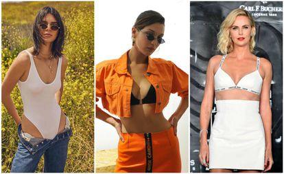 De izquierda a derehca: las modelos Kendall Jenner y Bella Hadid y la actriz Charlize Theron.