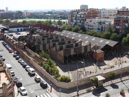 Vista aérea de las antiguas cocheras de Metro, en Cuatro Caminos.
