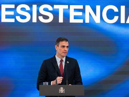 El presidente del Gobierno, Pedro Sánchez presenta su Plan de Recuperación, Transformación y Resiliencia, en La Moncloa.