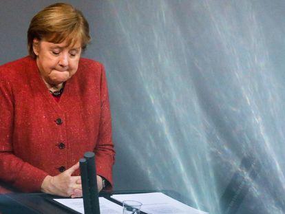 La canciller alemana, Angela Merkel, durante su intervención en el Bundestag este miércoles en Berlín.
