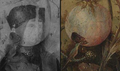 A la izquierda, un dibujo oculto tras una granada (en el centro).