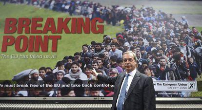 El líder de UKIP, Nigel Farage, este jueves en un acto de campaña a favor del 'Brexit' en Londres.