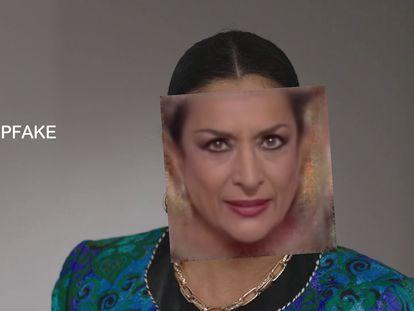 Imagen del proceso de reconstrucción digital del rostro de Lola Flores para una campaña publicitaria.