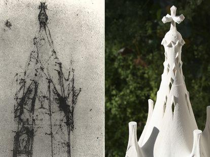 A la izquierda, croquis original de Antoni Gaudí de la Capilla de la Asunción. A la derecha, maqueta para el proyecto en Rancagua, Chile.