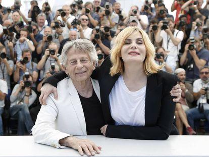 Emmannuelle Seigner y Roman Polanski en Cannes en 2017