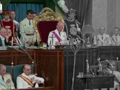 Avance del tercer capítulo de 'España después de la guerra: el franquismo en color en el que se ve el momento en el que Franco nombró sucesor en la Jefatura del Estado al príncipe Juan Carlos.