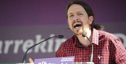 El líder de Podemos, Pablo Iglesias, en el País Vasco.