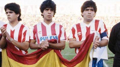 Los hermanos Maradona, Hugo, Lalo y Diego, en el duelo del Granada ante el Malmoe de 1987.