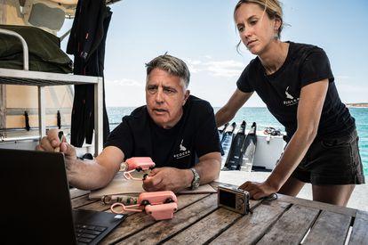 Brad Norman analiza el rastro de los tiburones ballena junto a su equipo. ©Rolex/Franck Gazzola