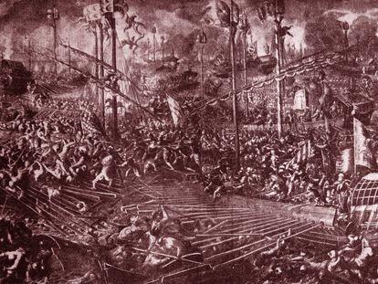 Ilustración del siglo XVI sobre la Batalla de Lepanto.