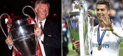 Ferguson, con la Champions de 2008 del Manchester. Cristiano celebra la 13ª del Madrid, su quinta Champions. Getty