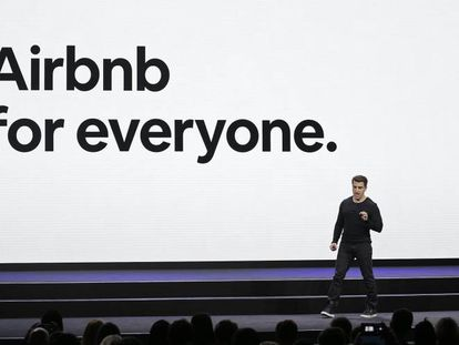 Uno de los cofundadores de Airbnb, Brian Chesky, en un evento en San Francisco.