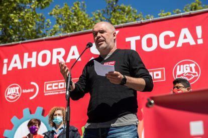 Unai Sordo, el lunes durante su intervención en una concentración organizada por los sindicatos CC OO y UGT en Madrid.