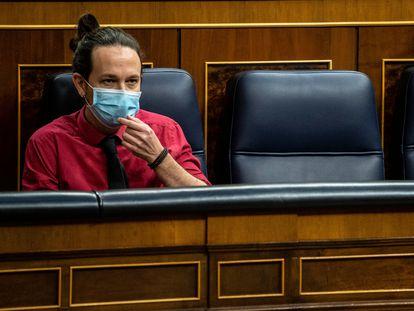 Pablo Iglesias, vicepresidente segundo del Gobierno, en la Cámara baja este miércoles.