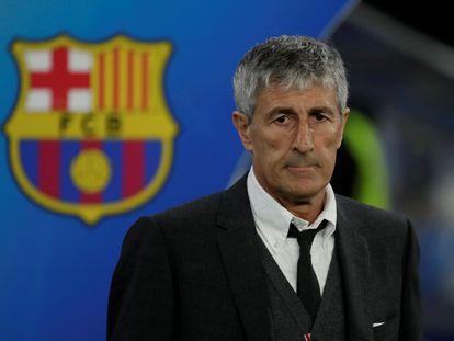 Quique Setién, durante el partido de Champions ante el Nápoles en el Camp Nou.
