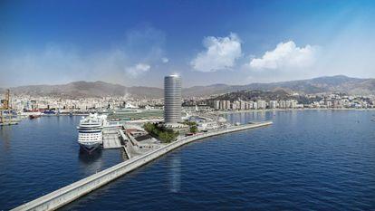 Una de las recreaciones del estudio de José Seguí en las que se ve el hotel terminado en el puerto de Málaga. |