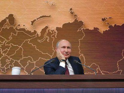 Vladímir Putin, este jueves durante su conferencia anual de prensa.