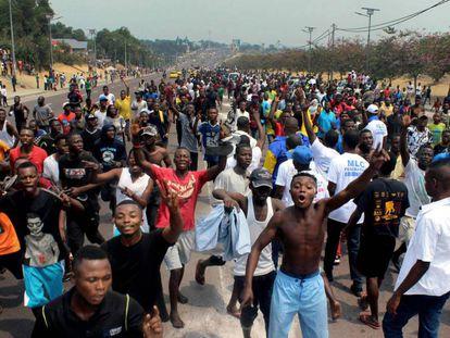Seguidores del Movimiento para la liberación del Congo, esta semana, en RDC.