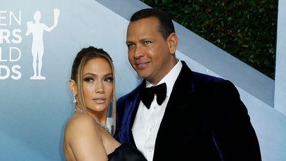 Jennifer Lopez y Alex Rodriguez en los Screen Actors Guild Award, en enero de 2020.