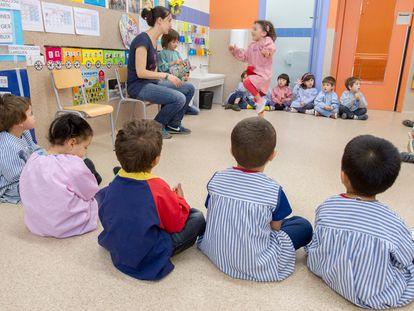 Una clase de P3 de un colegio público de Barcelona.