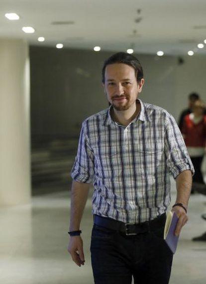 Pablo Iglesias, líder de Podemos, este martes en el Congreso.