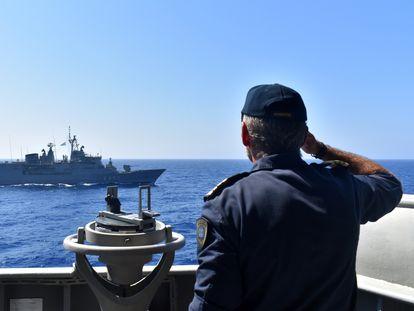 La flota europea durante sus maniobras en el Mediterráneo oriental, el pasado martes.