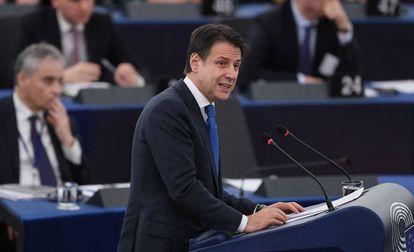 El primer ministro italiano, Giuseppe Conte, este martes en Estrasburgo.