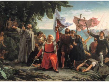 'Primer desembarco de Cristóbal Colón en América' (1862), de Dióscoro Teófilo Puebla y Tolín, de la colección del Museo del Prado.