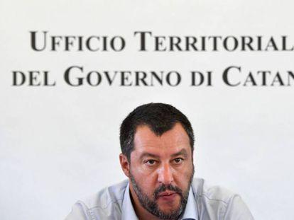 Matteo Salvini, el pasado 9 de julio, tras el cierre del mayor centro de acogida de migrantes y solicitantes de asilo en Europa, en Mineo, Sicilia.