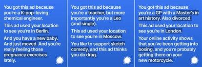 Algunos ejemplos difundidos por Signal de los anuncios que iban a formar parte de su campaña en Instagram.