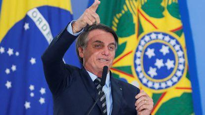 El presidente de Brasil, Jair Bolsonaro, durante un acto en Brasilia.