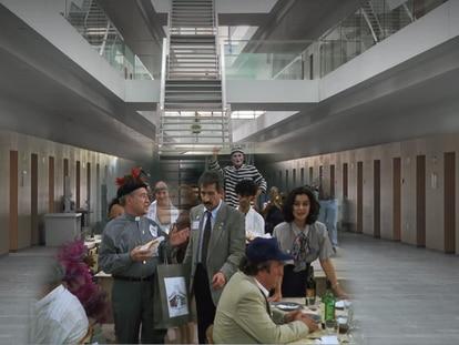 Una reconstrucción de la película 'Todos a la cárcel' (1994) y la actual vista de la prisión Modelo, localizada en Valencia.