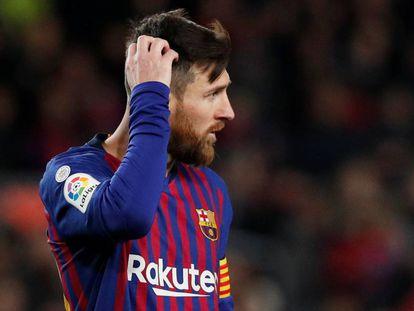 Lionel Messi, durante el partido contra el Valencia.