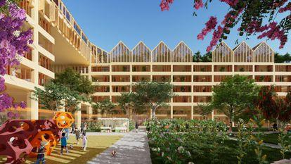 Imagen virtual de las viviendas que construirá el estudio de Vicente Guallart.