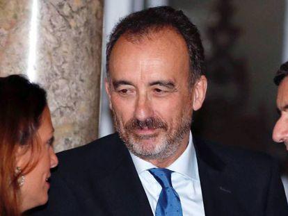 """El magistrado del Tribunal Supremo Manuel Marchena, en un acto celebrado en Madrid. En vídeo, la ministra portavoz, Isabel Celaá acusa al PP de hacer """"un alarde obsceno"""" de su control del poder judicial."""