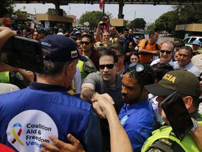El senador estadounidense Marco Rubio, este domingo en Cúcuta (Colombia).