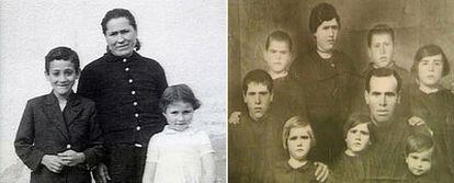 Arriba, a la izquierda, Emilia Girón con dos de sus hijos. A la derecha, la familia Calvo, antes de separarse.