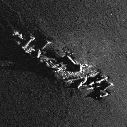 Imagen del buque desde la pantalla del sónar de la empresa.