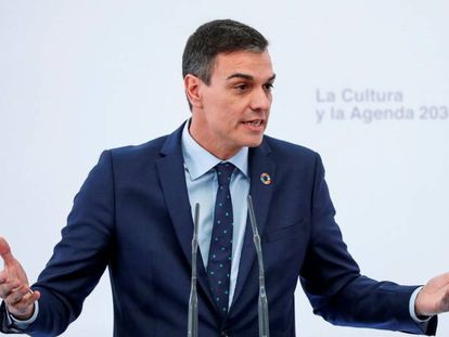 Pedro Sánchez, durante su intervención en un acto, este jueves en Madrid.