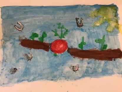 Pintura de paisaje natural agrícola de una alumna de 3º de Primaria.