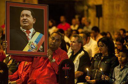 Una misa por la salud de Chávez en La Habana, este sábado.