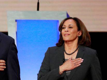 Joe BIden y Kamala Harris, durante un debate durante la campaña de primarias demócratas.
