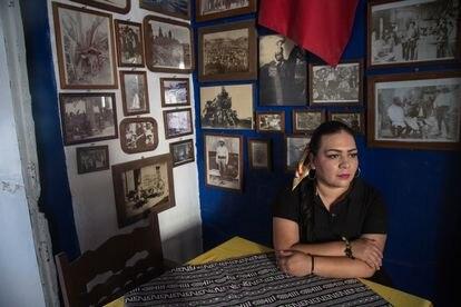 Maribel Juárez en el modesto restaurante familiar en Angamacutiro, Michoacán