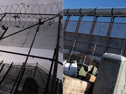 A la izquierda, imagen de la valla con concertina en 2019. A la derecha, la nueva instalación de Interior