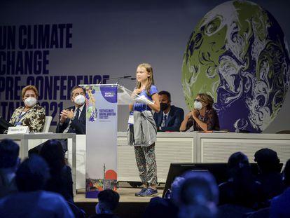 La joven activista contra el calentamiento global Greta Thunberg, este martes en Milán.