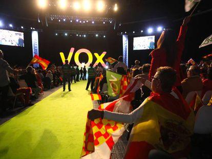 Mitin de Vox en el Palacio de Vistalegre (Madrid) el pasado 7 de octubre.