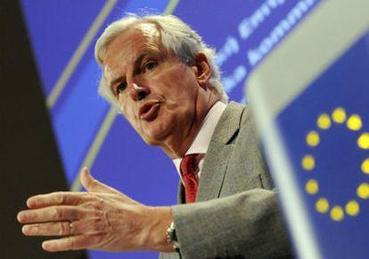 El comisario europeo de Mercado Interior y Servicios durante una conferencia de prensa en la sede de la Comisión Europea en Bruselas