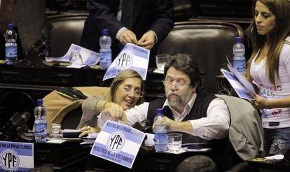 Diputados argentinos durante el debate sobre la expropiación de Repsol.