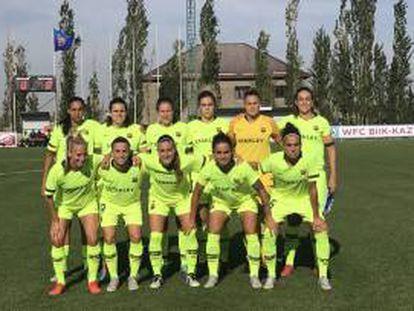 La alineación titular del Barça femenino, este miércoles.