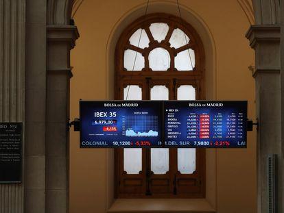 Panel de la Bolsa de Madrid.